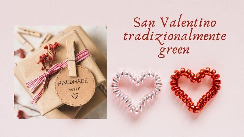 regalo handmade e sfondo con cuori per san valentino